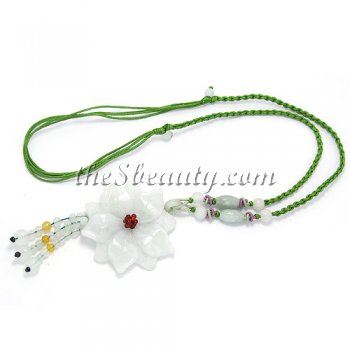 Handcrafted Jade Flower Hand-Knit Necklace