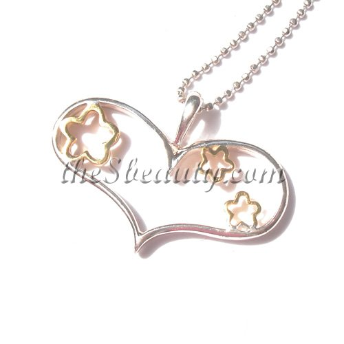 Sterling Silver Heart-Shaped Golden Star Pendant - Click Image to Close