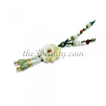 Handcrafted Jade Rose Hand-Knit Necklace