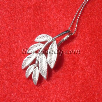 Sterling Silver Large Leaf Pendant