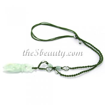 "Handcrafted Jade ""Hand of Goddess"" Hand-Knit Necklace"