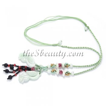 Handcrafted Jade Mini Rose Hand-Knit Necklace